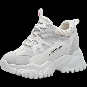 Hidden Height Walking Shoes Increase Elevator 8cm / 3.2Inch Lace-Up Hidden Wedge Heel Sneakers