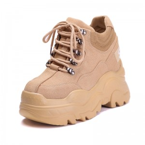 Increase Clunky Shoes Add Altitude 12cm / 4.7Inch Lace-Up Elevating Platform Shoes