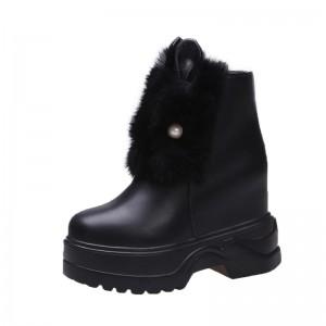 Hidden Wedge Heel Ankle Boots Raise Height 11Cm / 4.3Inch Zip Hidden Wedge Heel Leather Boot