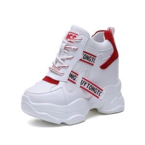 Increase Outdoor Shoes High Heel 11Cm / 4.3Inch Lace-Up Hidden Wedge Heel Platform Shoes