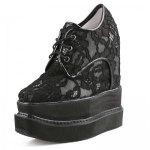 Hidden Increase Walking Shoes Grow Tall 15cm / 6Inch Lace-Up Hidden Taller Platform Shoes
