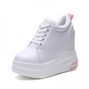 Shorty Women Hidden Lift Platform Shoes To Be Taller 11Cm / 4.3Inch Lace-Up Increase Taller Casual Shoes