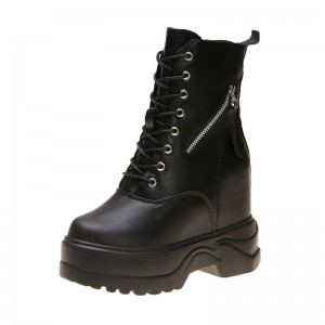 Shorty girl Elevated Ankle Boots To Look Taller 11Cm / 4.3Inch Lace-Up Hidden Taller Military Boots