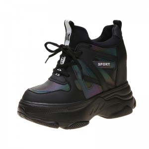 Height Increasing Elevator Platform Shoes Lift 9Cm / 3.5Inch Lace-Up Hidden Wedges Walking Shoes