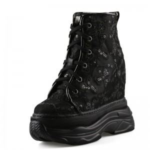 Height Wedge Walking Shoes To Make You Look Taller 14cm / 5.5Inch Lace-Up Elevating Boots