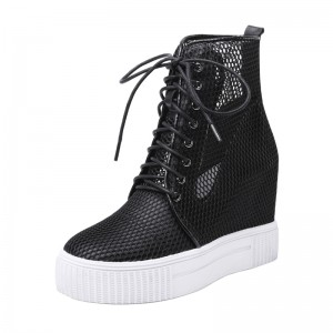 Increase Ankle Boots Add Height 10cm / 4Inch Lace-Up Hidden Height Lace Up Boot