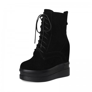Hidden Heel Taller Combat Boot To Be Altitude 12cm / 4.7Inch Lace-Up Increase Taller Lace Up Boot