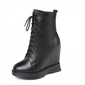 Hidden Heel Combat Boot Raise Height 12cm / 4.7Inch Lace-Up Height Increasing Elevator Lace Up Boot