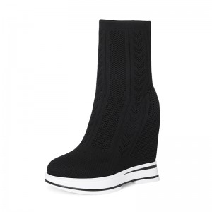 Taller Mid Calf Boots Height Lift 12cm / 4.7Inch Slip-On & Pull-On Hidden Wedges Sock Boots