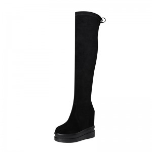 Height Increasing Knee High Boots Lift 12cm / 4.7Inch Slip-On & Pull-On Hidden Wedges Over-The-Knee Boots