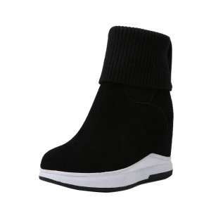 Hidden Wedge Heel Mid Calf Boots To Make You Look Taller 10cm / 4Inch Slip-On & Pull-On Increase Taller Leather Boot
