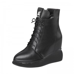Elevated Ankle Boots Elevator 10Cm / 4Inch Lace-Up Hidden Heel Leather Boot