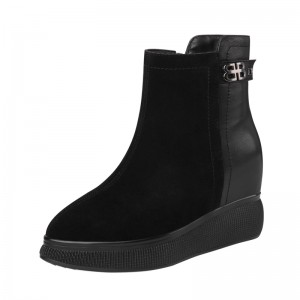 Increase Ankle Boots Elevator 10cm / 4Inch Zip Elevated Leather Boot