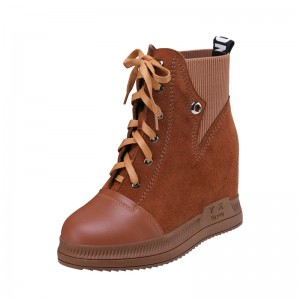 Height Increasing Elevator Combat Boot Height Raising 10cm / 4Inch Lace-Up Taller Hieght Ankle Boots