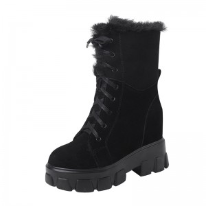 Height Elevator Combat Boot Walk Tall 10cm / 4Inch Lace-Up Hidden Increase Snow Boot