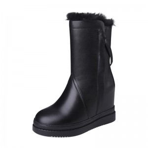 Increase Snow Boot Add Height To 10cm / 4Inch Lace-Up Elevated Leather Boot