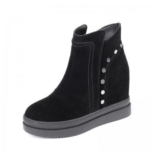Height Increasing Elevator Ankle Boots Add Altitude 10cm / 4Inch Zip Height Increasing Leather Boot