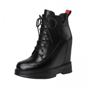 Heighten Combat Boot For Height Increasing 12cm / 4.7Inch Lace-Up Height Leather Boot