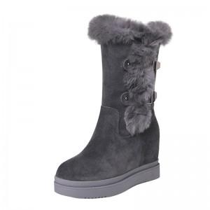 Hidden Heel Mid Calf Boots To Look Taller 10cm / 4Inch Slip-On & Pull-On Hidden High Heel Snow Boot