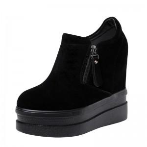 Elevator Platform Shoes Get Taller 14cm / 5.5Inch Zip Hidden Heel Ankle Boots