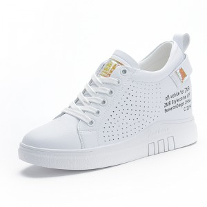 Ladies Hidden Elevator Casual Shoes Heel 7cm / 2.8Inch White Lace-Up Elevated Campus Shoes
