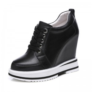 Elevated Platform Shoes Add Altitude 12cm / 4.7Inch Lace-Up Hidden Wedges Walking Shoes