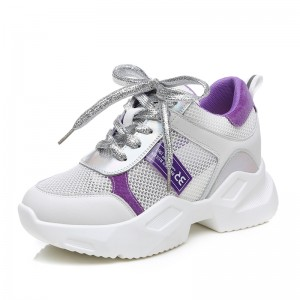 Hidden High Heel Clunky Shoes For Height 7cm / 2.8Inch Lace-Up Outdoor Shoes