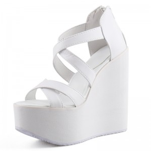 Hidden Wedges Platform Shoes Increasing Height 13Cm / 5Inch Slip-On & Pull-On Hidden Heel Sandals Shoes