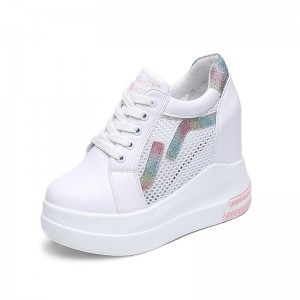 Height Increasing Outdoor Shoes Height Increase 11cm / 4.3Inch Lace-Up Hidden Wedge Heel Athletic Shoes