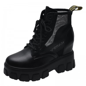 Taller Combat Boot Elevating 8Cm / 3.2Inch Lace-Up Hidden Heel Ankle Boots