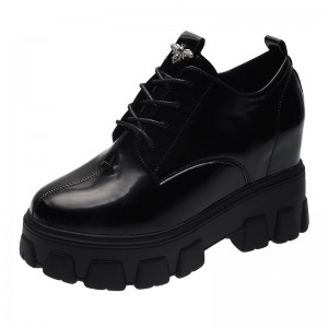Hidden Heel Walking Shoes Raising Height 8cm / 3.2Inch Lace-Up Increase Taller Platform Shoes