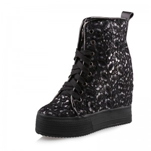 Hidden Lift High Top Casual Shoes Taller 12cm / 4.7Inch Lace-Up Elevating Chukka Boot