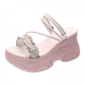 Hidden Height Sandals Shoes Heel Height 9cm / 3.5Inch Slip-On & Pull-On Hidden Taller Platform Shoes