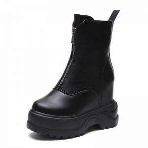 Hidden Elevator Combat Boot Elevation 11Cm / 4.3Inch Zip Hidden Height Ankle Boots
