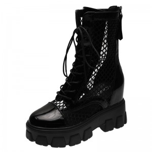 Increase Taller Mid Calf Boots To Look Taller 9cm / 3.5Inch Lace-Up Height Elevator Lace Up Boot