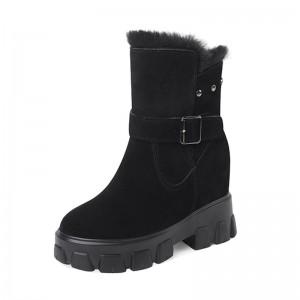 Hidden High Heel Combat Boot High Heel 10cm / 4Inch Lace-Up Hidden Heel Leather Boot