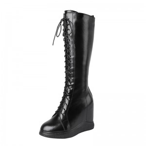 Black Hidden Heel Lace Up Boot To Be Height 12Cm / 4.7Inch Lace-Up Hidden Taller Over-The-Knee Boots