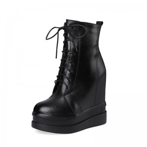 Taller Hieght Combat Boot That Add Height 14Cm / 5.5Inch Lace-Up Height Wedge Lace Up Boot