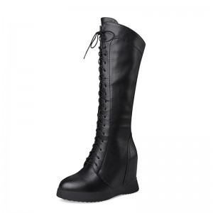 Hidden Lift Mid Calf Boots Extra Altitude 10cm / 4Inch Lace-Up Height Increasing Elevator Leather Boot