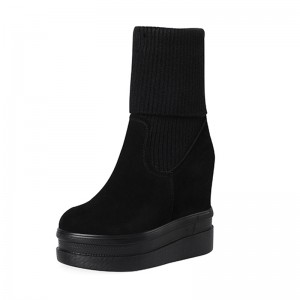 Hidden Elevator Mid Calf Boots Extra Tall 12cm / 4.7Inch Slip-On & Pull-On Hidden Wedges Snow Boot