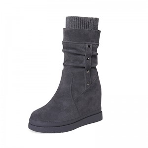 Hidden Taller Mid Calf Boots Height Grow 10cm / 4Inch Slip-On & Pull-On Increase Taller Leather Boot