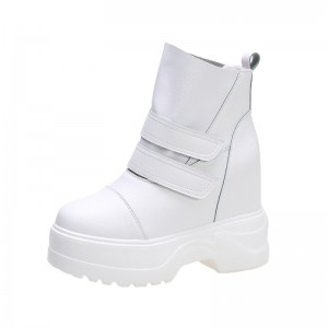 Hidden Wedges Ankle Boots Extra High 11Cm / 4.3Inch Hook & Loop Hidden Wedges Leather Boot