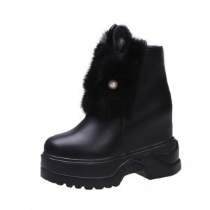 Hidden Wedge Heel Ankle Boots Raise Height 11Cm / 4.3Inch Zip Hidden Wedge Heel Leather Boot
