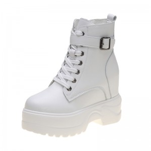 Hidden Heel Combat Boot Increasing Height 11cm / 4.3Inch Lace-Up Hidden Heel Taller Leather Boot
