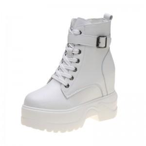 Hidden Heel Combat Boot Increasing Height 11cm / 4.3Inch Lace-Up Hidden Heel Taller Leather Boot