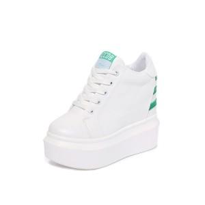 Heighten Walking Shoes Raised 12cm / 4.7Inch Lace-Up Hidden Heel Platform Shoes