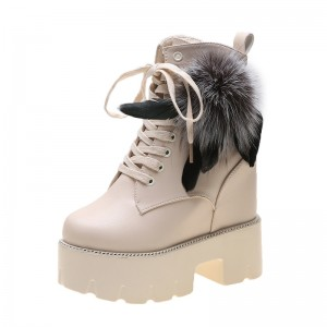Height Wedge Combat Boot Height Boosting 12Cm / 4.7Inch Lace-Up Height Elevator Ankle Boots
