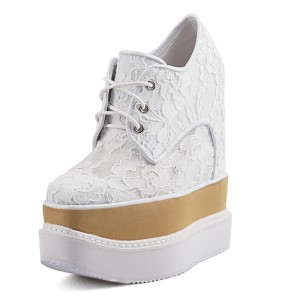 Height Wedge Walking Shoes Enhance Your Height 17cm / 6.7Inch Lace-Up Hidden Heel Platform Shoes