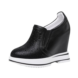 Woman Height Wedge Walking Shoes Get Tall 12cm / 4.7Inch Slip-On & Pull-On Taller Hieght Platform Shoes