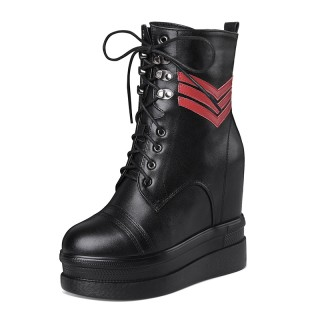 Hidden Wedges Lace Up Boot Heightening 12cm / 4.7Inch Lace-Up Elevating Chukka Boot
